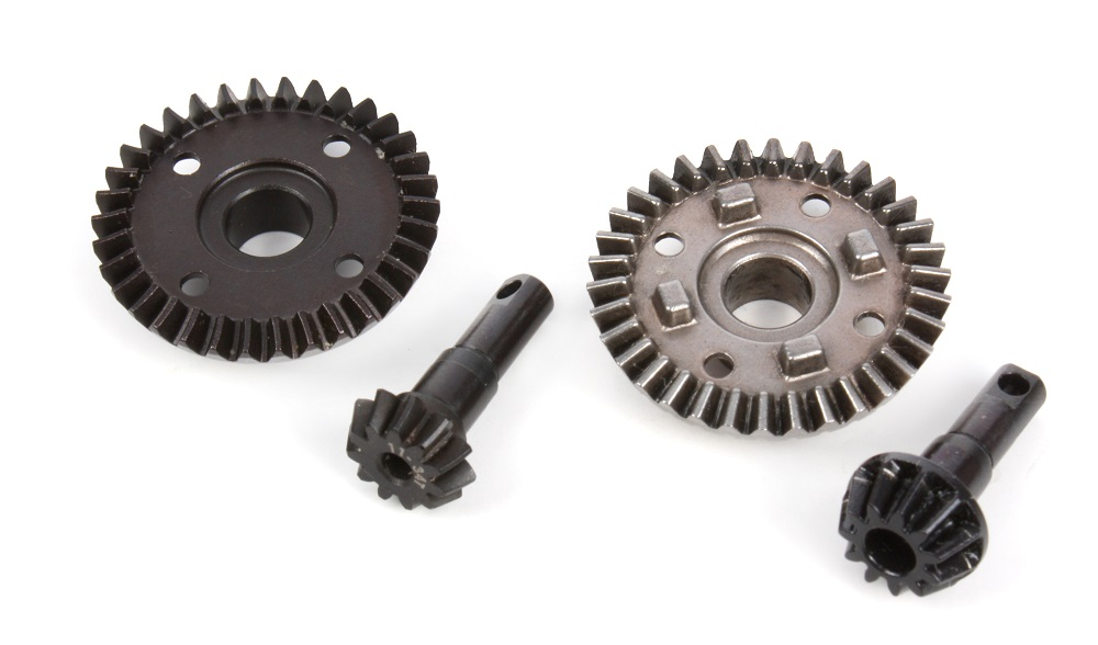 Compare the ring and pinion gears